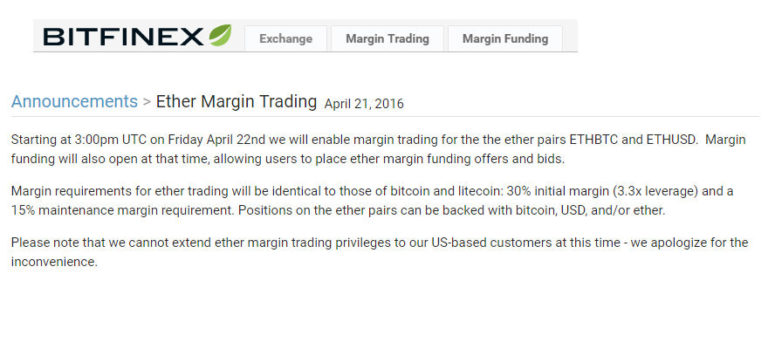 Margin Trading Ether with Bitfinex