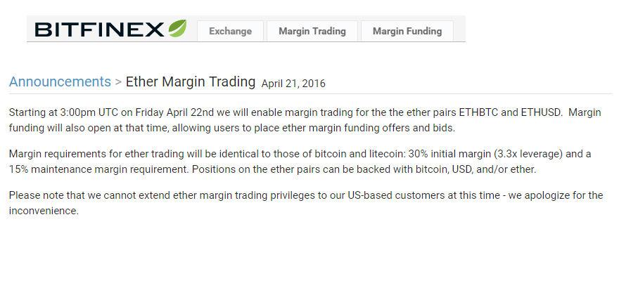 Margin Trading Ether withBitfinex