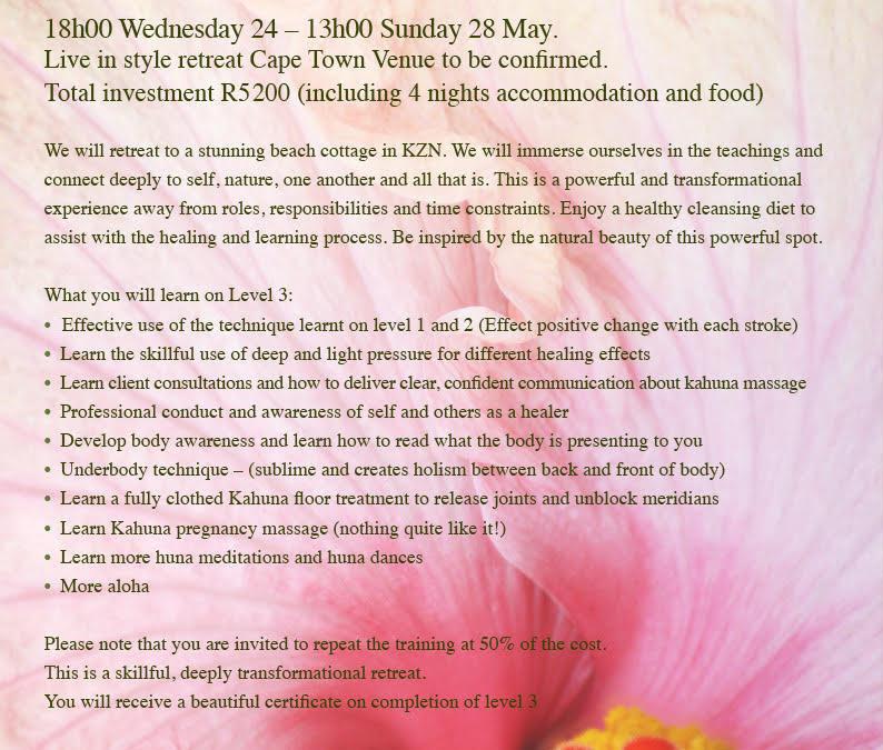 Level 3 Advanced Kahuna Massage Bodyworker Cape Town 2017