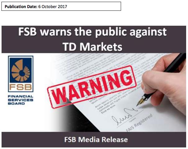 FSB warns the public against TD Markets