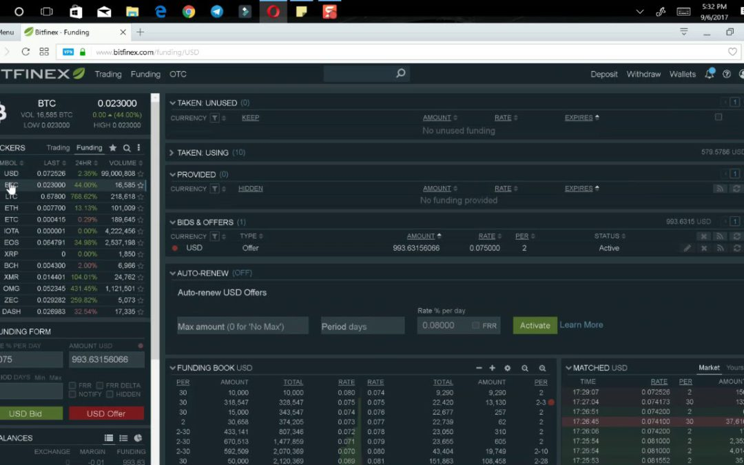 How To Earn Daily Interest On Your Bitcoins Lending Them Out To Margin Traders On Bitfinex